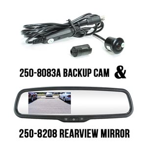 "ROSTRA - 4.3"" REARVIEW MIRROR WITH DRILL-IN BULET CAMERA"
